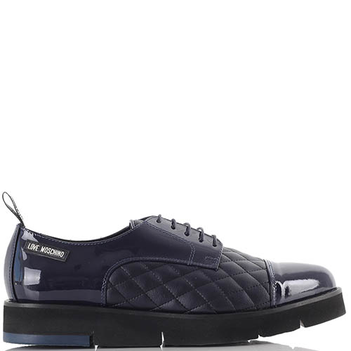 Демисезонные туфли-дерби Love Moschino темно-синего цвета, фото