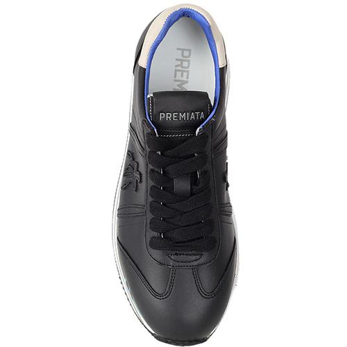 Черные кроссовки Premiata на бело-голубой высокой подошве, фото