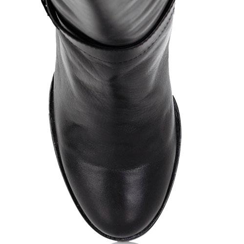 Зимние кожаные сапоги Nocturne Rose черного цвета на устойчивом каблуке, фото