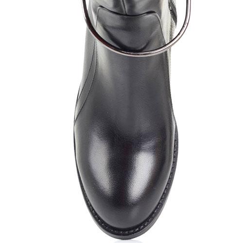 Высокие кожаные сапоги на меху Ginni с металлическим декором, фото