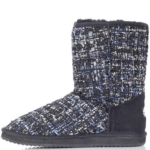 Текстильные угги Massimo Santini черные с синими вкраплениями, фото