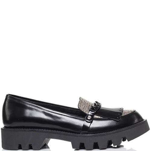 Кожаные туфли-лоферы черного цвета MAC Collection с декоративной цепью, фото