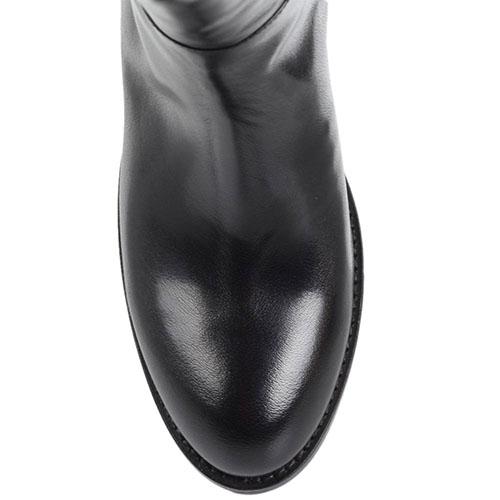 Высокие сапоги Ginni из полированной кожи черного цвета с декоративным ремешком, фото