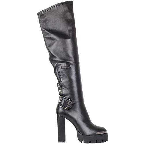 Демисезонные сапоги-ботфорты Nando Muzi из кожи на высоком каблуке, фото