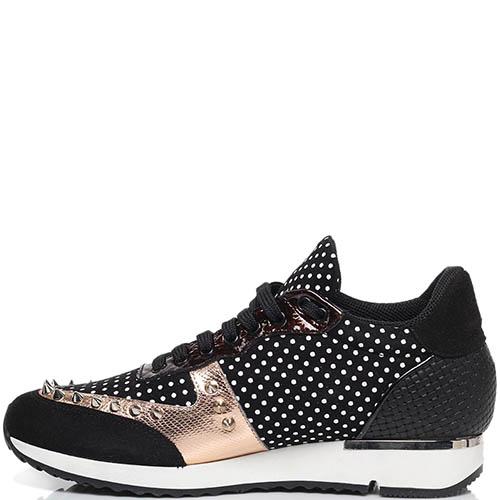 Кроссовки из замши и кожи черного цвета с золотистыми вставками MAC Collection с металлическими шипами, фото