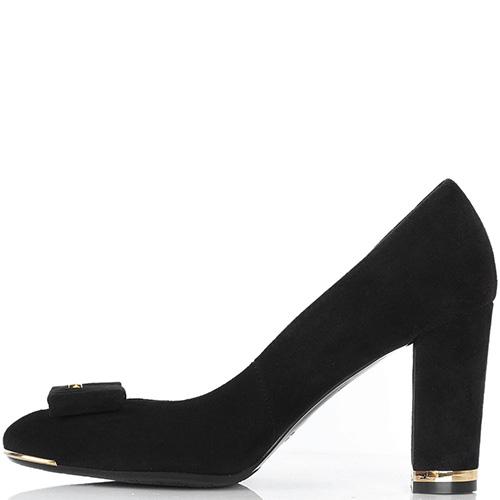 Замшевые туфли Sara Kent черного цвета с бантиком на носочке, фото