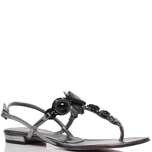 Кожаные сандалии серебристого цвета Nila&Nila с декором в виде камней, фото