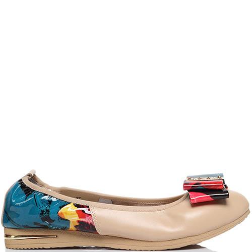 Кожаные балетки бежевого цвета с яркими вставками Francesco Valeri, фото