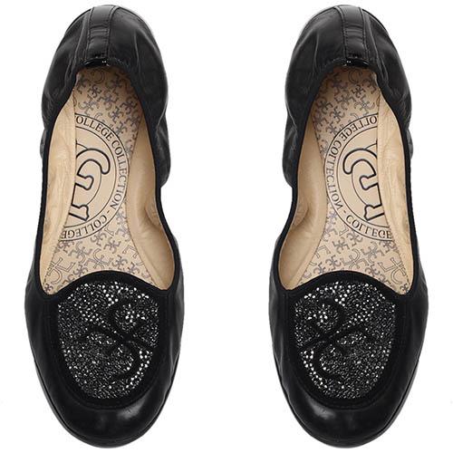 Черные кожаные балетки FABI с декором из страз, фото