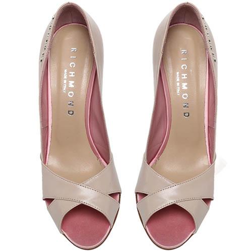 Кожаные туфли бежевого цвета Richmond с открытым носочком, фото