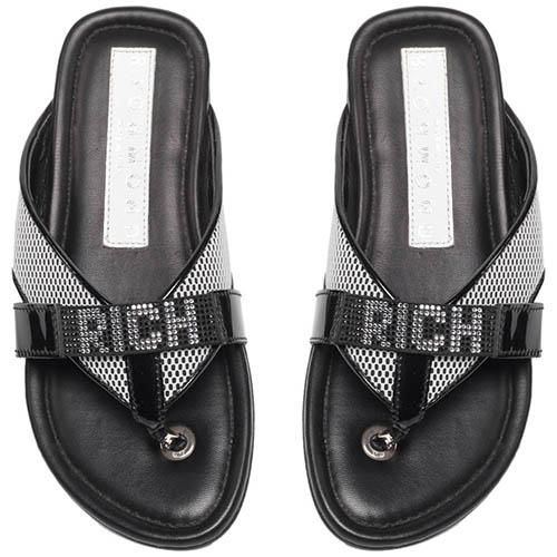 Сланцы из кожи черного цвета Richmond с надписью бренда из страз, фото