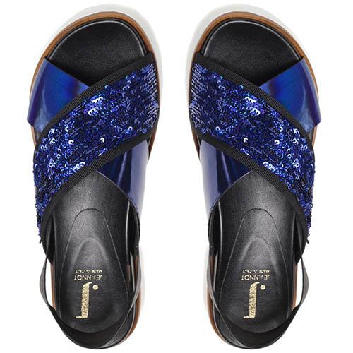Сандалии из кожи и текстиля украшенного глиттером Jeannot синего цвета на резинке, фото