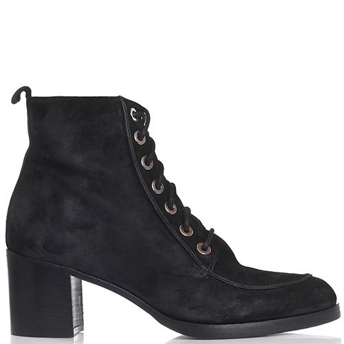 Замшевые ботинки Bervicato со шнуровкой на толстом каблуке, фото