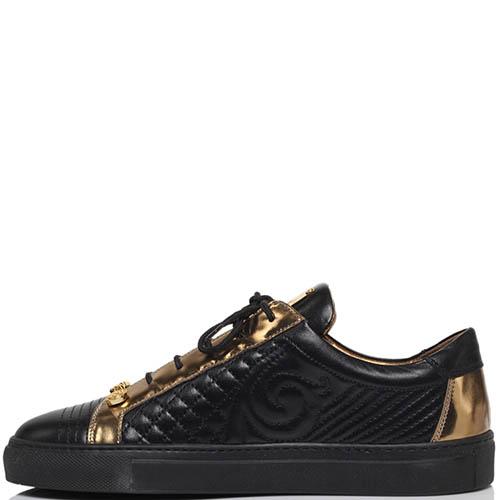 Кеды из стеганой кожи черного цвета с золотистыми деталями Lonvie на шнуровке, фото