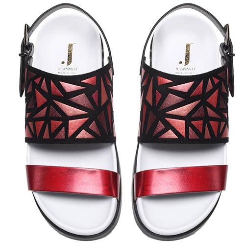 Кожаные босоножки красного цвета с замшевыми деталями Jeannot на толстой подошве, фото