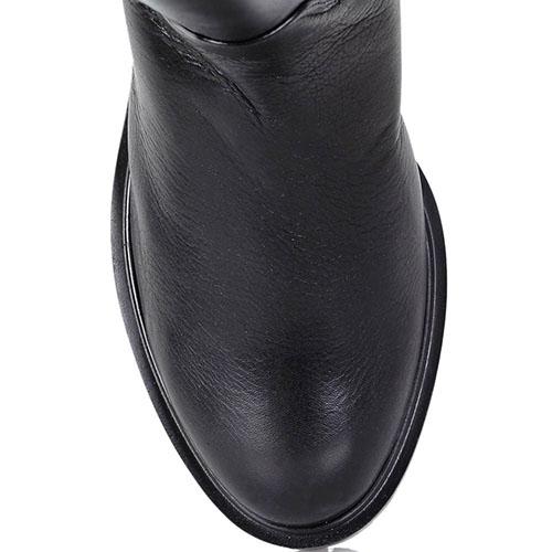 Зимние кожаные сапоги Dyva черного цвета на низком ходу, фото
