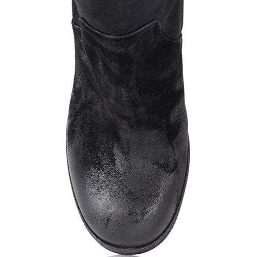 Высокие сапоги Fru.It из натуральной замши черного цвета с эффектом потертости, фото