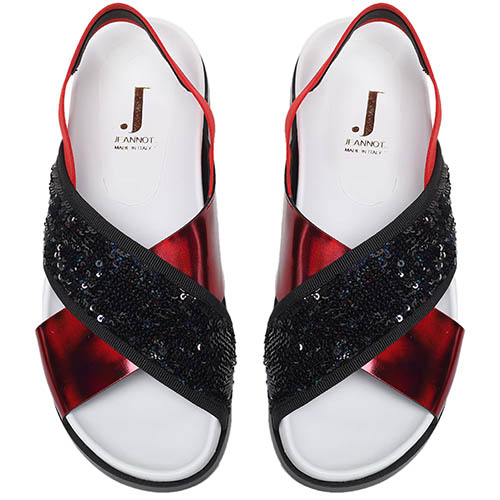 Сандалии из кожи и текстиля украшенного глиттером Jeannot красного цвета на резинке, фото