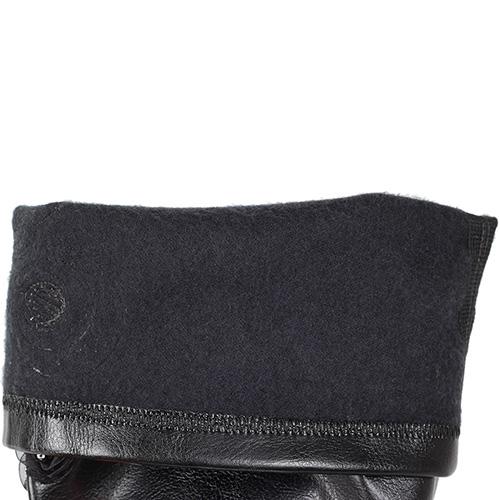 Кожаные сапоги Mimmu черного цвета с текстильным декором, фото