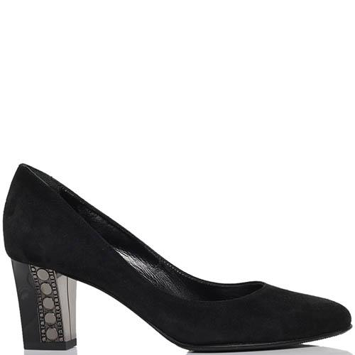 Туфли из замши черного цвета ICONE на устойчивом каблуке, фото