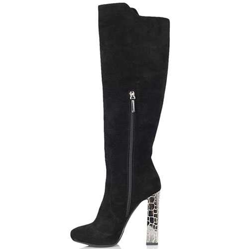 Замшевые сапоги Twice черного цвета на серебристом каблуке, фото