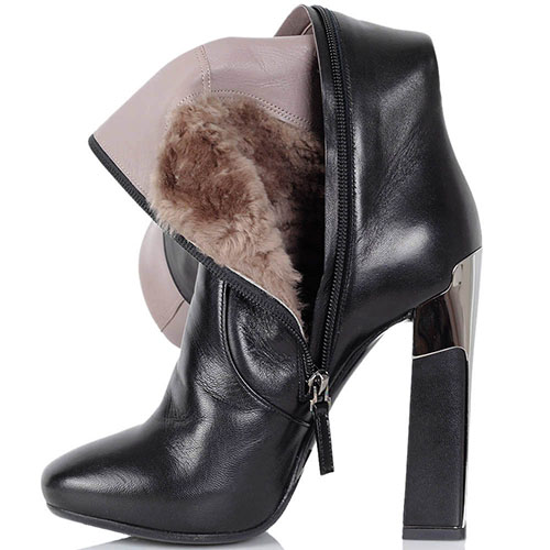 Кожаные сапоги Twice черного цвета на высоком каблуке, фото