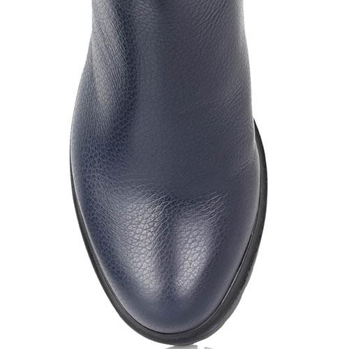 Высокие сапоги Loriblu из крупнозернистой кожи синего цвета, фото