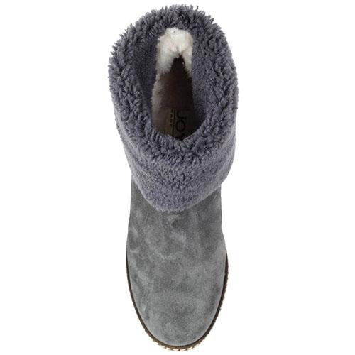 Зимние ботинки Joyks из натуральной замши серого цвета на бежевой танкетке, фото