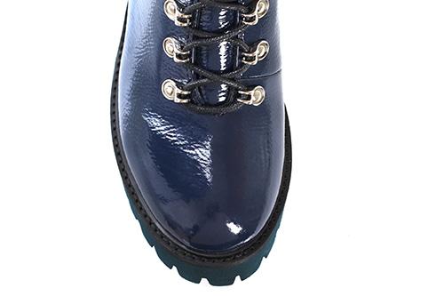Синие лаковые ботинки Massimo Santini на шнуровке с мехом, фото
