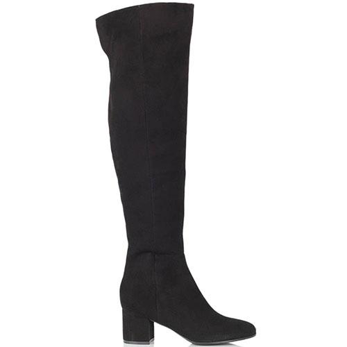 Замшевые ботфорты The Seller черного цвета на среднем каблуке, фото