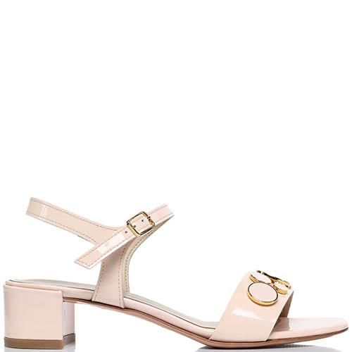Босоножки из лаковой кожи розового цвета Jeannot на низком каблуке, фото