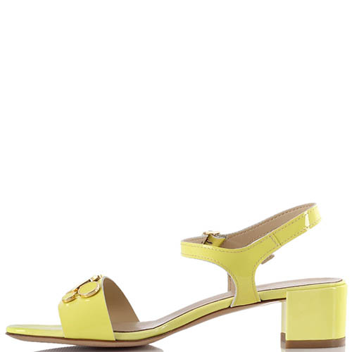 Желтые яркие босоножки Jeannot на низком толстом каблуке, фото