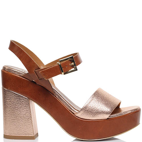 Босоножки из кожи золотистого цвета Jeannot на толстом каблуке и платформе, фото