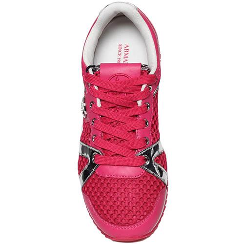 Кожаные кроссовки розового цвета с текстильными вставками Armani Jeans, фото