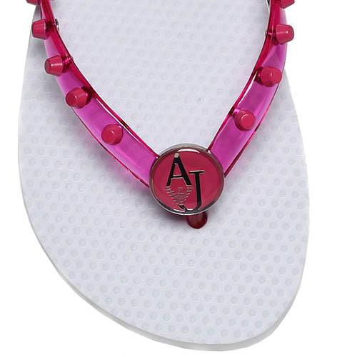 Сланцы из силикона розового цвета Armani Jeans с декором в виде заклепок, фото