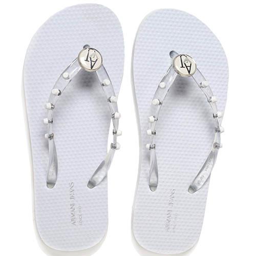 Сланцы из силикона белого цвета Armani Jeans с декором в виде заклепок, фото