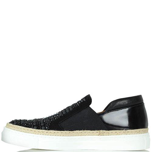 Кожаные слипоны Laura Bellariva черного цвета на белой подошве, фото