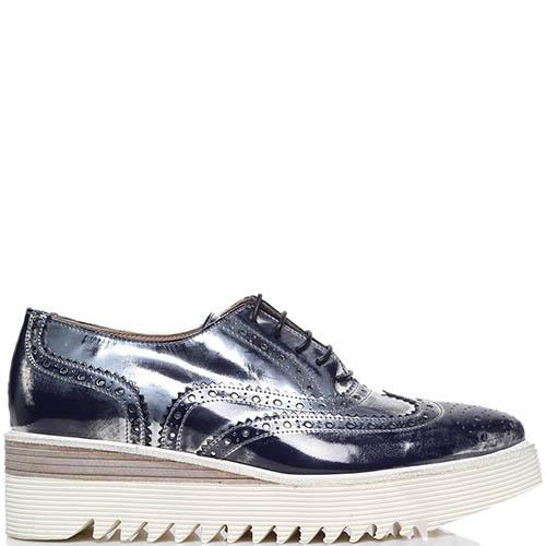 Кожаные туфли-броги синего цвета с перфорацией Laura Bellariva на шнуровке, фото