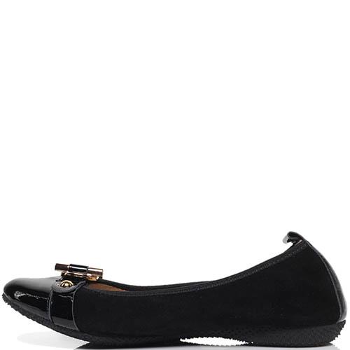 Замшевые балетки черного цвета с лаковым носочком La Ballerina, фото