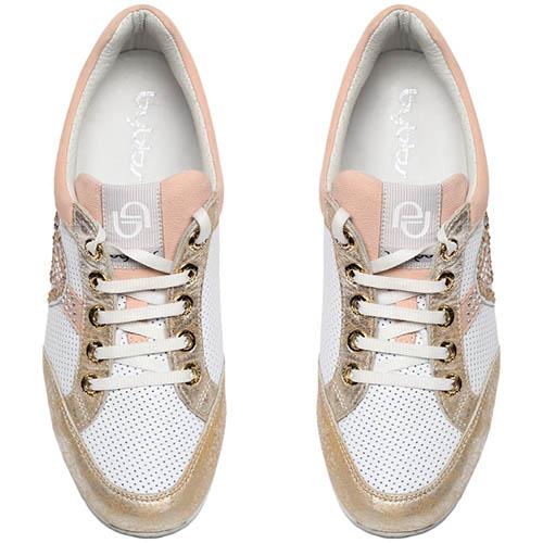 Белые кроссовки из перфорированной кожи с золотистыми и розовыми деталями Byblos, фото