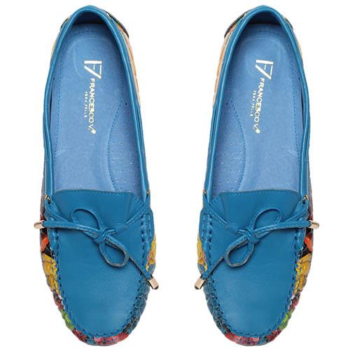 Кожаные мокасины голубого цвета с ярким принтом Francesco Valeri, фото