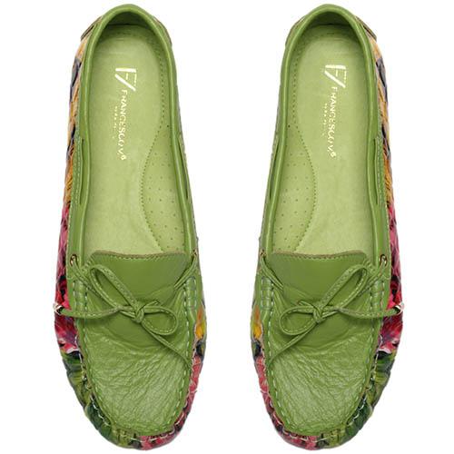 Кожаные мокасины зеленого цвета Francesco Valeri с цветочным принтом, фото