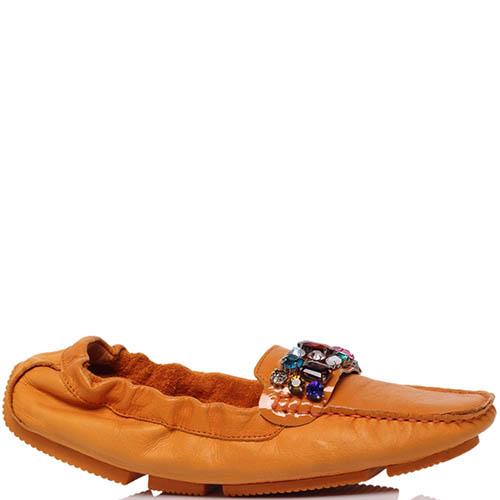 Кожаные мокасины оранжевого цвета Francesco Valeri украшенные крупными стразами, фото