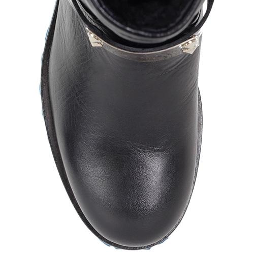 Кожаные ботинки Richmond черного цвета на толстой синей подошве, фото