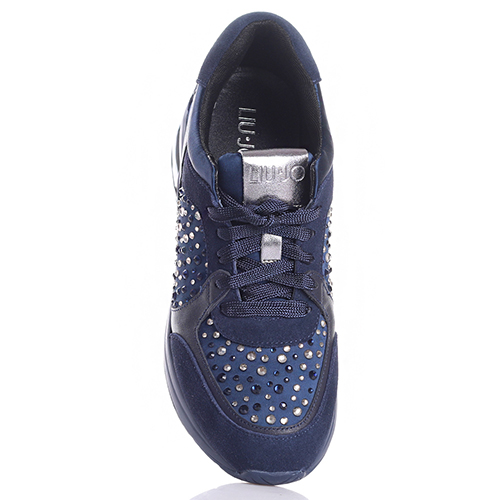 Замшевые кроссовки Liu Jo с декором-стразами, фото