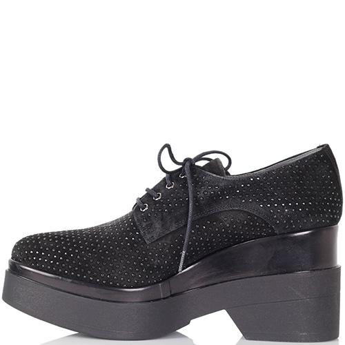 Туфли Kanna из натуральной замши черного цвета на высокой танкетке, фото