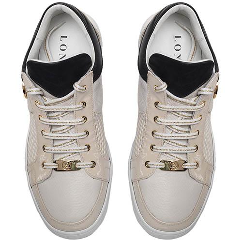 Кеды из перфорированной кожи бежевого цвета с лаковыми деталями Lonvie на шнуровке, фото