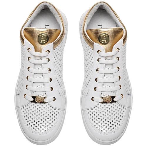 Кеды из перфорированной кожи белого цвета с золотистыми деталями Lonvie на шнуровке, фото