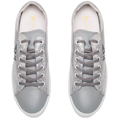 Кеды из кожи серого цвета перламутрового текстиля Trussardi Jeans на толстой подошве, фото