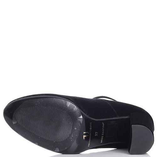 Велюровые туфли Trussardi Jeans на толстом каблуке, фото